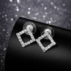 Jewelry - Pave Crystal Rhombus Stud Earrings